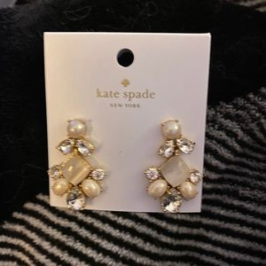 Kate spade gold rhinestone earnings new cream/gold